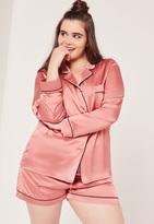 Missguided Plus Size Piping Detail Pyjama Set Pink
