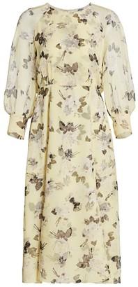 Erdem Yusra Rosemont Wallpaper Silk Voile Midi Dress