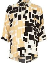 River Island Womens Brown square print twist back shirt