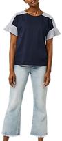 Warehouse Cotton Flute Poplin T-Shirt, Navy