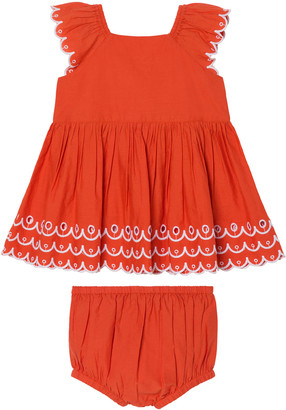 Stella McCartney Girl's Contrast Scalloped Sleeveless Top w/ Shorts, Size 6-24M