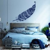 DecalStoreVienna Wall Decals Feathers Feather Peafowl Peacock Bird Pattern Nature Vinyl Decal Sticker Home Décor Bedroom Nursery Living Children's Room Murals S89