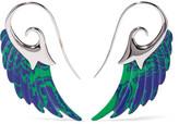 Noor Fares Wing 18-karat White Gold Azurite Earrings