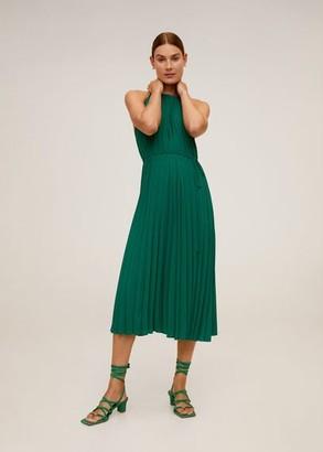 MANGO Belt pleated dress emerald green - 2 - Women