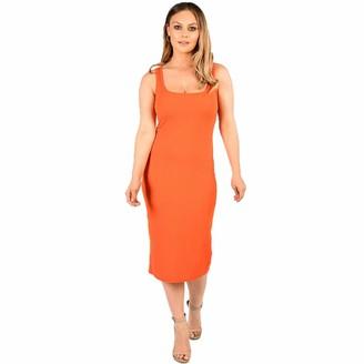 FunkyFashion Womens Ribbed Plain Midi Dress Ladies Sleeveless Stretchy Bodycon Jumper (Orange UK 12-14)