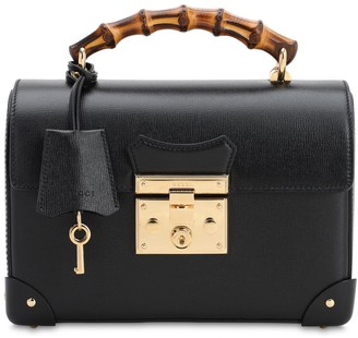 Gucci PADLOCK LEATHER TOP HANDLE BAMBOO BAG
