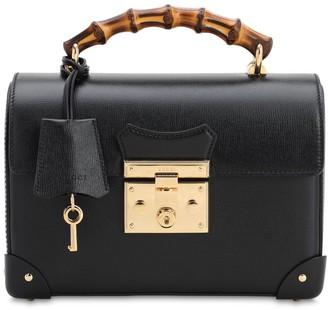 Gucci Padlock Leather Top Handle Bamboo Bag