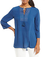 Preston & York Tara Tassel Neck Tie Blouse