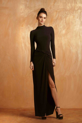 Gemy Maalouf Long Sleeve V Cut Back Evening Gown