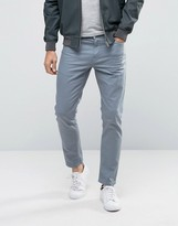 Asos Skinny Ankle Grazer Jeans In Light Blue