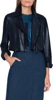 Akris Pearlized Leather Crop Moto Jacket