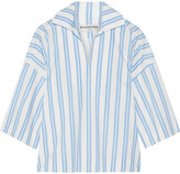 Balenciaga Striped Cotton-poplin Top - Blue