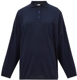 Loewe Oversized Spread-collar Wool Sweater - Navy