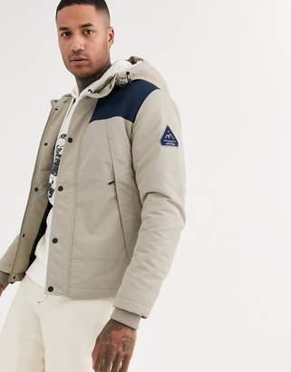 Jack and Jones Originals hooded padded jacket with contrast shoulder block in grey