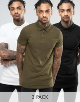 Asos 3 Pack Muscle Longline Jersey Polo SAVE