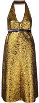 Vera Wang halterneck metallic cloqué dress