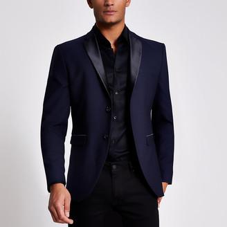 River Island Selected Homme navy slim suit jacket