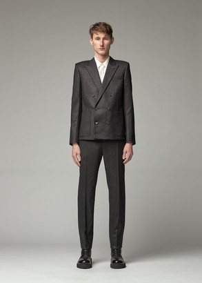 Saint Laurent Men's Double Breasted Suit Jacket in Black/Gold Size 50