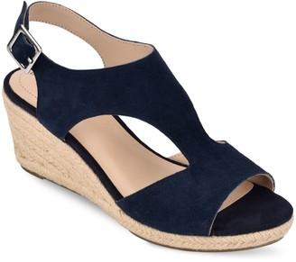 Bandolino Suede T Strap Espadrille Wedge Sandals - Natasha
