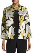 Caroline Rose Easy-Fit Leaf Jacquard Jacket, Multi, Plus Size