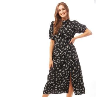 Brave Soul Womens Lamai All Over Print Midi Dress Black/White Print