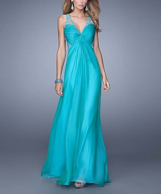 La Femme Women's Special Occasion Dresses Peacock - Peacock Knot-Front Rhinestone-Strap V-Neck Gown - Women
