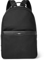 HUGO BOSS Signature Leather-trimmed Shell Backpack - Black