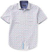 Bugatchi Shaped-Fit Circle-Print Short-Sleeve Woven Shirt