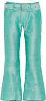Marques Almeida Marques' Almeida Belted frayed slub silk flared pants