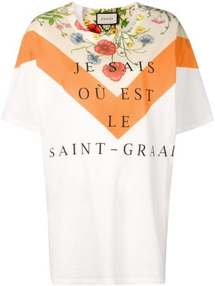 Gucci floral panel print oversized T-shirt