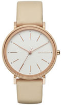 Skagen Sandblast Dial Rose Goldtone Leather Watch