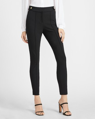 Express High Waisted Soft & Sleek Button Tab Skinny Pant