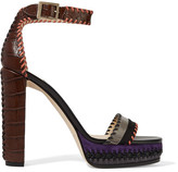 Jimmy Choo Holly Suede-trimmed Croc-effect Leather Platform Sandals - Brown