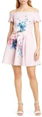 Ted Baker Raspberry Floral Scallop Off the Shoulder Skater Dress