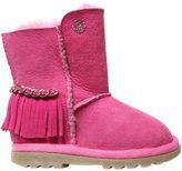 Miss Blumarine Suede & Shearling Boots W/ Fringe