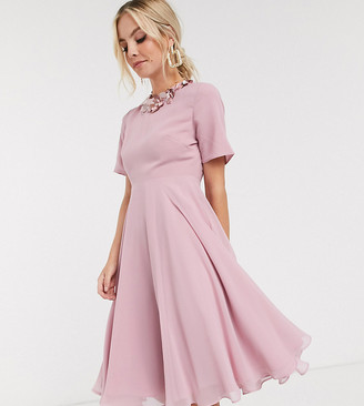 ASOS DESIGN Petite crop top embellished neckline midi dress