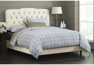 Skyline Furniture Solid Wood and Upholstered Panel Bed Color: Parchment, Size: King