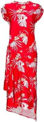 Paco Rabanne Hawaiian print asymmetric midi dress