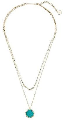 Kendra Scott Cynthia Multi Strand Necklace (Gold/Bright Aqua Drusy) Necklace