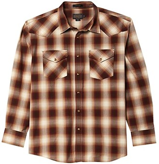 Pendleton Long Sleeve Frontier (Blue/Navy/Brown Plain) Men's Clothing
