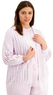 Alfani Plus Size Eyelet-Knit Cardigan, Created for Macy's
