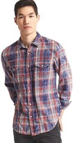 Gap 1969 Denim Plaid Western Slim Fit Shirt