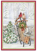 Caspari Sled in Snow Holiday Cards, Box of 16