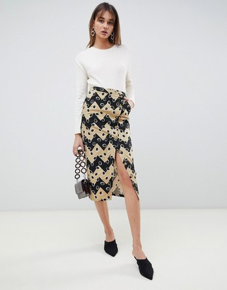 ASOS Zig Zag Printed Button Down Two-piece Skirt