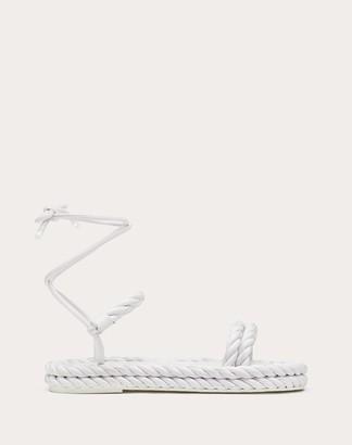 Valentino The Rope Nappa Sandal Women Optic White Lambskin 100% 35