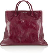 Miu Miu Cracked glossed-leather tote