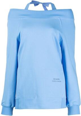 Alberta Ferretti Off-Shoulder Long-Sleeve Sweatshirt
