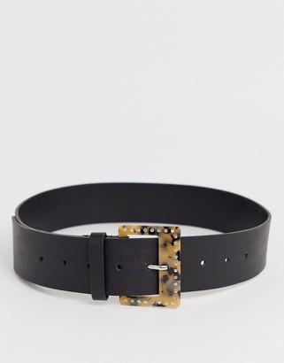 Asos Design DESIGN wide tort and rhinestone buckle waist belt-Black