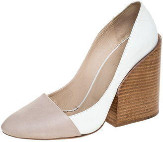 Chloé Two Tone Leather Wooden Block Heel Pumps Size 40