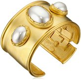 Kenneth Jay Lane Satin Gold with 3 Cultured Pearl Center Stones Cuff Bracelet
